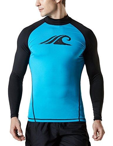 TSLA Men's UPF 50+ Long Sleeve Rashguard, Print(msr12) - Sky Blue & Black, Medium