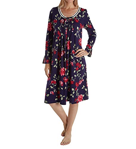- Carole Hochman Women's Sleeve Long Nightgown, Large red Floral M