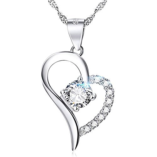 SJS Collection Forever In My Heart Sterling Silver Pendant Necklace w/ 9 AAA Cubic Zirconia Diamonds. 18