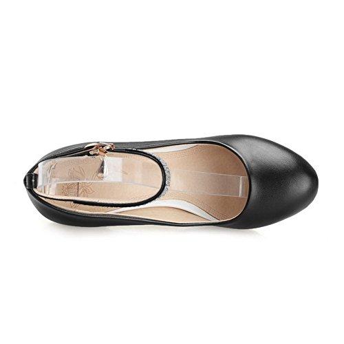 AllhqFashion Damen Hoher Absatz Blend-Materialien Rein Schnalle Rund Zehe Pumps Schuhe Schwarz