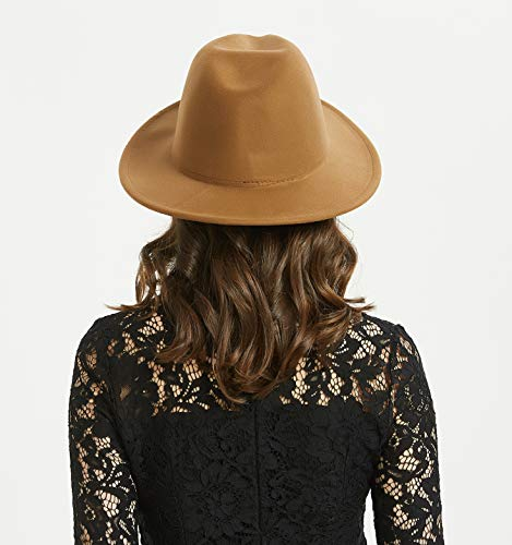 3da66c7332e5ef Women or Men Woolen Felt Fedora Vintage Short Brim Crushable Jazz Hat,  Light Coffee