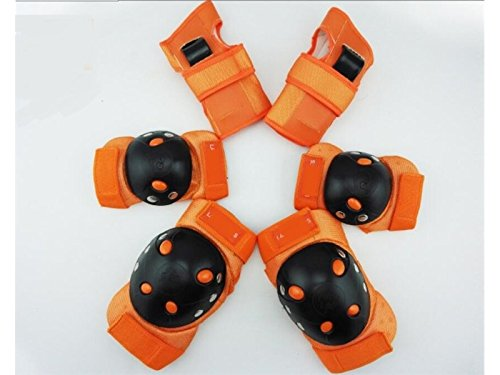Pullic Comfortable 6 Pcs/Set Adult Protective Gear Set with Elbow Knee Wrist Pad for Roller Skating Skateboard BMX Scooter Cycling (Orange) by Pullic