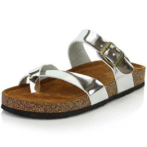DailyShoes Women's Fashion Flat Thong Strap Buckle Sandal Shoes, Silver PU, 8.5 B(M) US