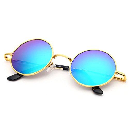 de dorado Hombres Sol de Retro Gafas conducción Sol los de Personalidad Gris de Gafas Negro HUHUXIAOWU Verde de de Gafas Sol Redondas Plata B0Y6w