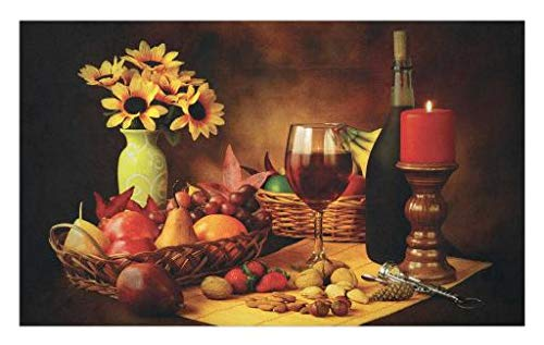 - Lunarable Winery Doormat, Still Life Image of Red Wine Flowers Fruits and Nuts with Candle Romantic Evening, Decorative Polyester Floor Mat with Non-Skid Backing, 30 W X 18 L Inches, Vermilion Yellow
