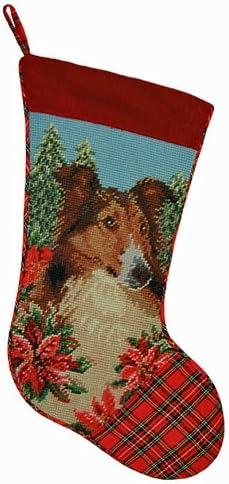 Shetland Sheepdog stocking Sheltie needlepoint Christmas stockings dog stocking Personalized Christmas stockings Sheltie dog stocking