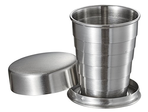 Visol Scope Telscopic Stainless Steel Folding Shot Cup, 2 oz, Silver