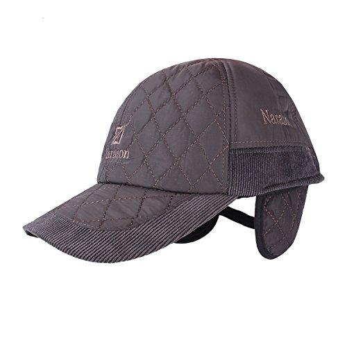 Winter Outdoor Cap - Winter Warm Cap - Outdoor Travel Winter Sports Warm Cotton Earflap Hat With Ear Muffs - Grey ( Sport Winter Cap ) - Earflap Ball Cap