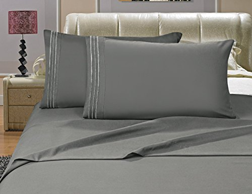Elegant Comfort Luxury Bed Sheets Set on Amazon 1500 Thread Count Egyptian Quality Wrinkle, Fade, Stain Resistant - Hypoallergenic - 4 Piece Sheet Set, Queen, Gray