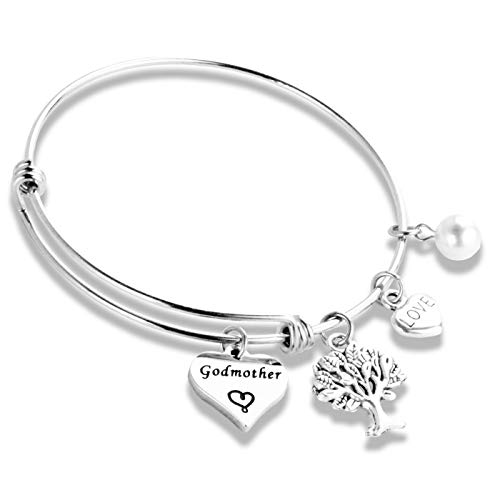 Hopyee Godmother Gift Bracelet from Godchild for God Mom Gifts Jewelry for Godmother with Heart Charm Bangle for God Mother Special Day (Best God Moms)