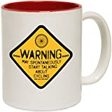 123t Mugs Warning May Spontaneously Start Talking About Cycling Ceramic Slogan Cup With Red Interior by 123t Mugs
