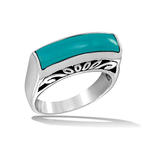 CloseoutWarehouse Rectangular Simulated Turquoise Decorative Swirl Ring High Polished Sterling Silver Size 10