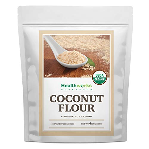 Healthworks Coconut Flour Unrefined Raw Organic (64 Ounces / 4 Pounds) | Certified Organic | Keto, Vegan & Non- GMO | Protein Based Whole Foods | Pancakes, Waffles, Bread & Other Baked Goods