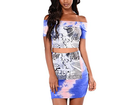 Sindy Queen Brief Cute Sexy & Club O-Neck Short Regular short skirts Two Piece Clothes(Blue-L)