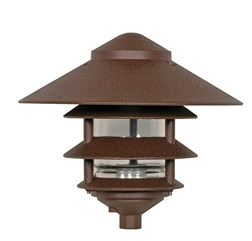 Nuvo Lighting SF76/637 One Light Three Louver Large Hood 120 Volt Die Cast Aluminum Durable Outdoor Landscape Pathway Lighting, Old Bronze (Pagoda Light Landscape)