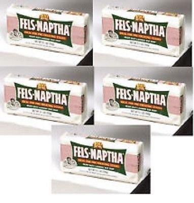 5 BARS Fels-Naptha 04303-01 Heavy-Duty Laundry Bar Soap, 5.5