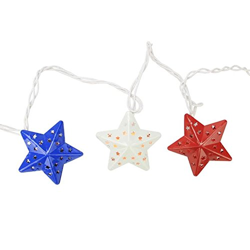 , White and Blue Metal Star 4th of July Patio Christmas Lights - White Wire (July Stars)