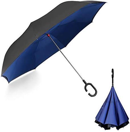 YOKITOMO 長傘 逆さ傘 逆折り式 耐風 丈夫 撥水 UVカット 自立可能 晴雨兼用 車用 (ネイビー)