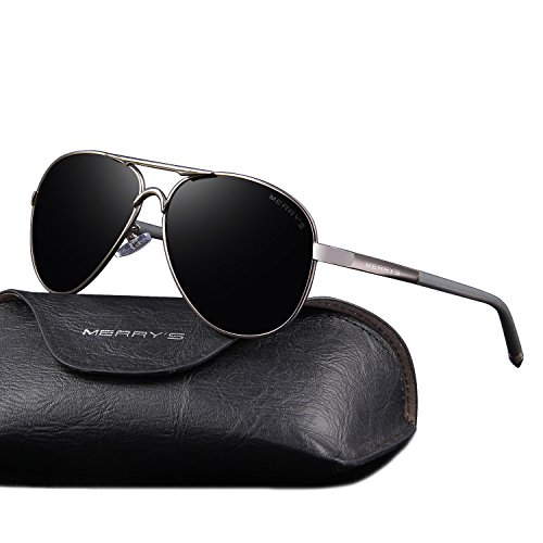 MERRY'S Men's Polarized Driving Sunglasses For Men Unbreakable Frame UV400 S8513 (Gray, - Aviator Unbreakable Sunglasses