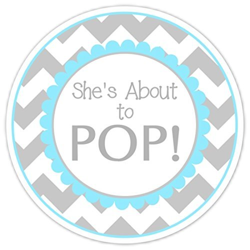36 Baby Shower Labels Shes About To Pop Stickers Gray Chevron