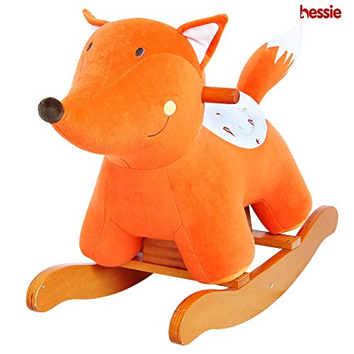 Hessie Modern Plush Rocking Horse with Soft Cute Stuffed Animal, Indoor Ride On Toys Rockers for Toddlers Kids Little Boys & Girls (6-36 Months) - Padded Orange -
