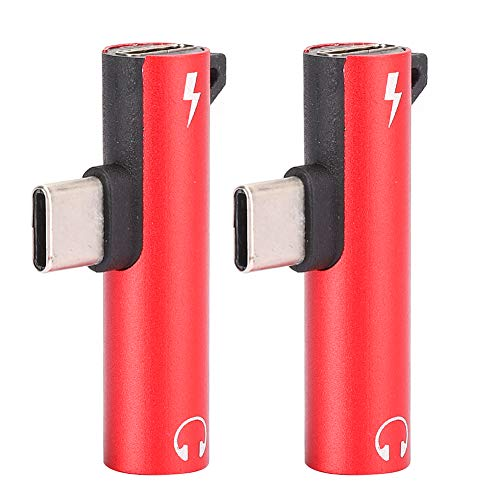 Junluck Type-c Connector No Headphone Cable Adapter for Music Control 2-Piece Motorcycle adapters for Phone/Tablet/pc(red)
