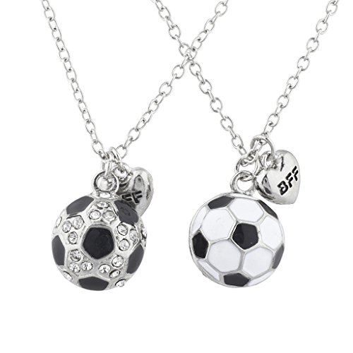 Lux Accessories Silvertone Soccer Best Friends Forever BFF Charm Necklace 2PC