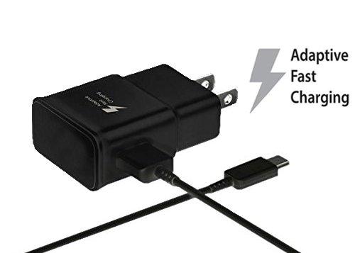 USB Type-C Cable with Adaptive Fast Wall Charger for Galaxy S8 S8 Plus S9 Note 8, LG G6 G5 V30 V20, Google Pixel 2 Nexus 5 x 6p, Nintendo Switch, MacBook GoPro5 OnePlus 5 3T 2 HTC U11-Black
