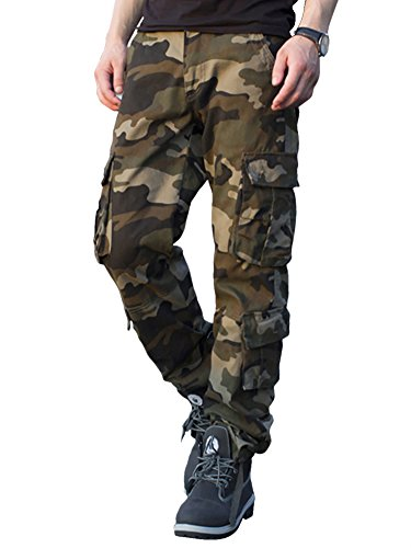 Army Combat Trousers (CloSoul Direct Men's Military Cargo Pants Loose Fit Wild Camo Hunting Combat Trousers Daily Basic Work Pants (Army Green, US 38/Waist 38