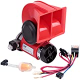 FARBIN Compact Air Horn with Compressor Snail Electric Car Horn 12V 150db Super Loud Nautilus Wiring Harness for Any 12V Vehicles (12V - red)