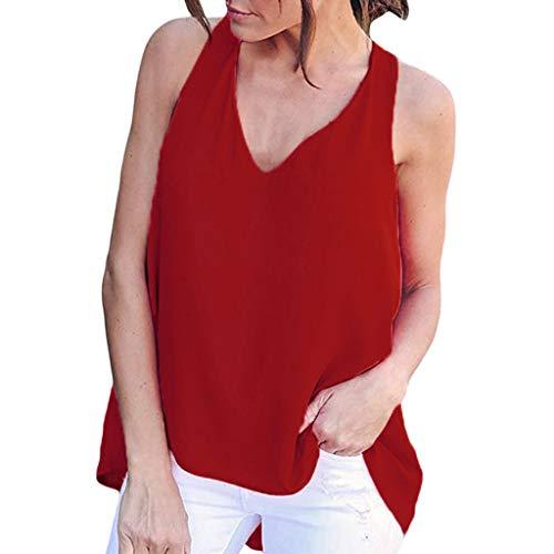 E V Casual Chiffon Da Scollo Rosso Maniche Con In A Camicetta Cutude Donna Lunghe Irregolari 0qCvCw