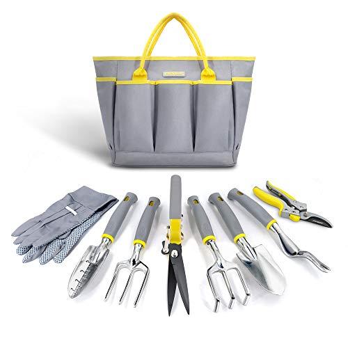 Jardineer 11PCS Gardening Tools Set, Garden Tool Kit with Outdoor Hand Tools, Unique Grass Shears, Garden Gloves…