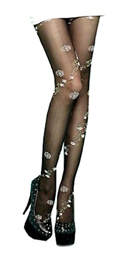 Flower Tights (Black & White Flower Flora Print Pattern Opaque Stockings Fashion Tights XS~M)