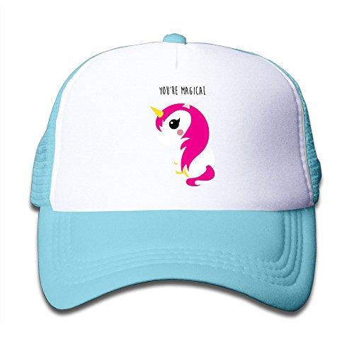 Henzhudi Cute Unicorn Unisex Grid Baseball Caps Adjustable Nice Icon Baseball Cap Customize SkyBlue