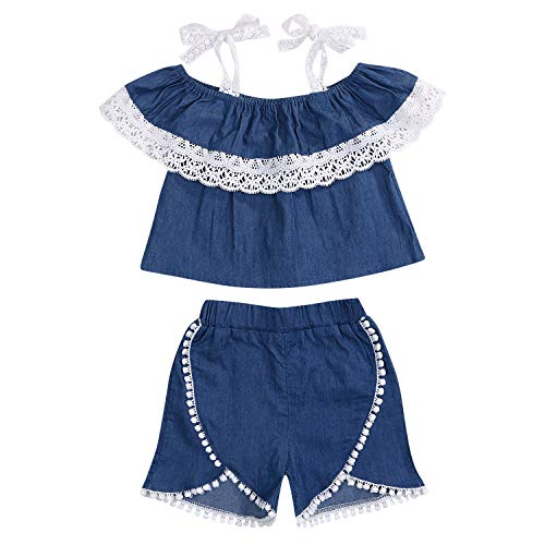 YOUNGER TREE Toddler Kids Baby Girls Rompers One Piece Denim Short Overalls Bow Ruffled Jumpsuit 1-5T (2-3T, White+Lace)