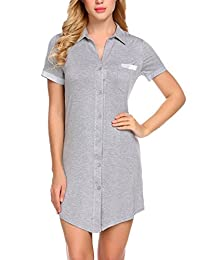 Avidlove Women Sexy Boyfriend Sleep Shirt Short Sleeve Nightshirts Sleepwear S-XXL