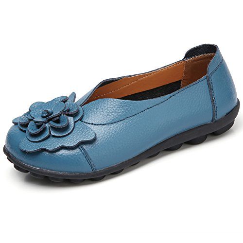 On Loafers Slip Blue SCIEN Leather Shoes Flat Soft Round Driving Toe Moccasins Women's Casual twvwq4gH