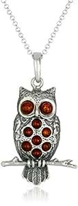 "Sterling Silver Honey Amber Medium Owl Pendant Necklace , 18"""