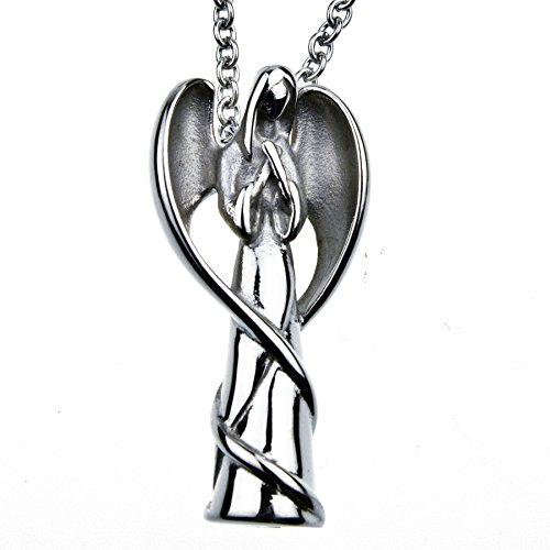 Angel Memorial Cremation Jewelry Urn Necklace for Ash Stainless Steel 18