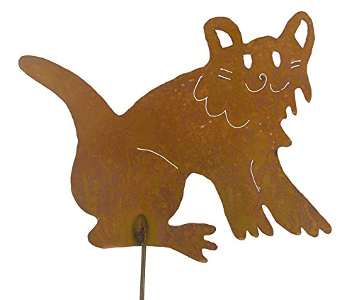 Happy Cat Rusty Metal Garden Stake