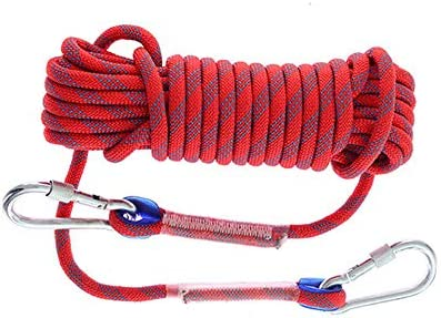 クライミングロープクライミングロープエスケープロープ野外活動アクセサリー、直径8 mmナイロンローディング800 KG,10m-Red