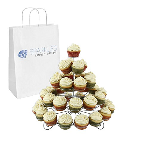 Sparkles Make It Special 5 Tier Spiral Wire Cupcake Stand Holder Holds 41 Cupcakes - Choose from 3 Sizes