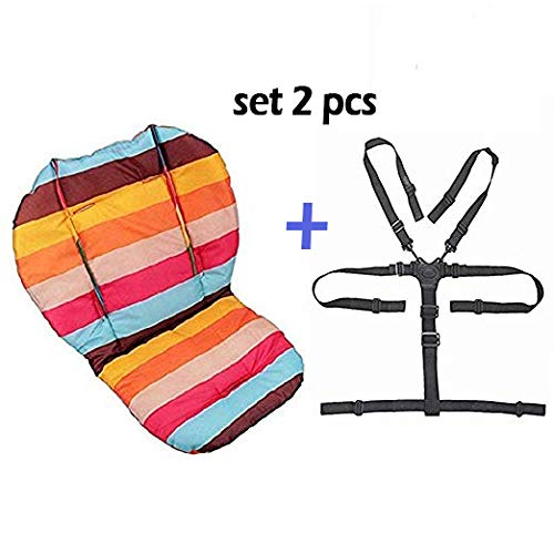 Baby Stroller | Car | High Chair Seat Cushion Liner Mat Pad Cover Protector Rainbow Striped Breathable Water Resistant Easy Cleaning with Baby 5 Point Harness ()