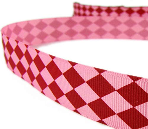 5 Yd Valentine Red Pink Diamond Checked Argyle Grosgrain Ribbon 7/8