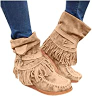 Women's Retro Roman Midi Calf Boots Flat Bottom Increased Army Booties Outdoor Perforated Fringe Western S