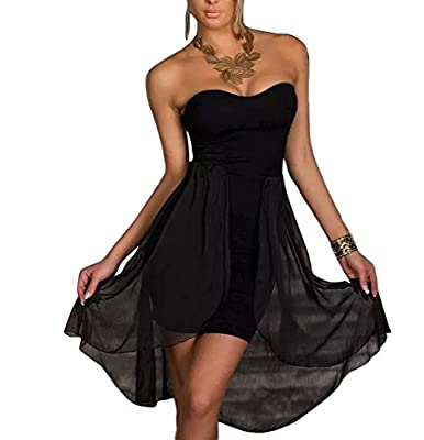 Relaxlama Women's Strapless Chiffon Hi-low Train Clubwear Party Dress