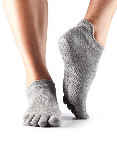 ToeSox Women's Grip Full Toe Low Rise Socks, Small, Heather Grey
