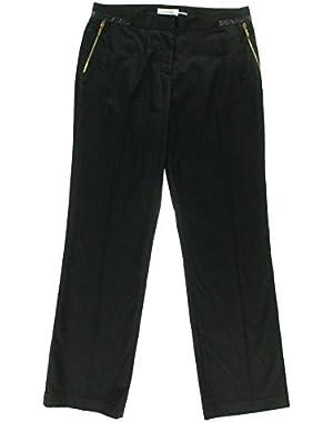 Calvin Klein Women's Zipper Accent Coated Dress Pants, Black, 6