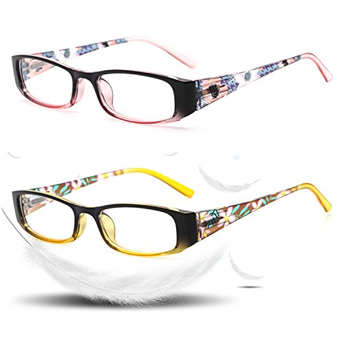 Reading Glasses 2 Pack Blue Light Blocking Computer Readers for Women Glasses Pouch Spring Hinges Arm Rectangle Lightweight Stylish Look Crystal Clear Vision Accessories Pink Yellow 1.0 D-VVDQELLA
