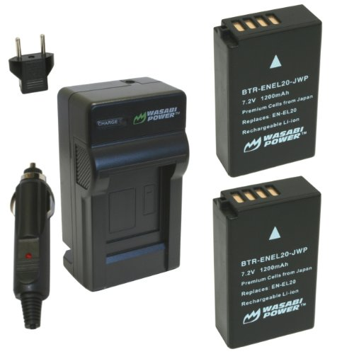 Wasabi Power Battery (2-Pack) and Charger for Nikon EN-EL20, Nikon EN-EL20a, Nikon Coolpix A, Nikon 1 AW1, Nikon 1 J1, Nikon 1 J2, Nikon 1 J3, Nikon 1 S1, Nikon 1 V3, and Blackmagic Pocket Cinema Came